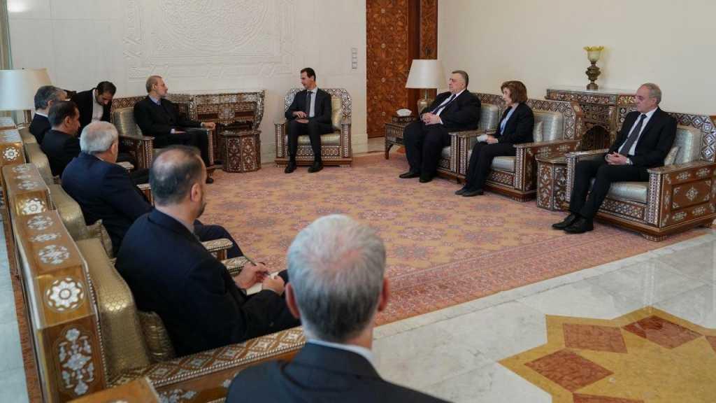 Larijani Reiterates Tehran's Support for Damascus