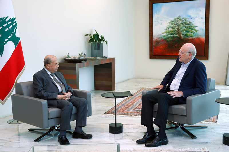 Mikati Discusses Cabinet Formation with Aoun