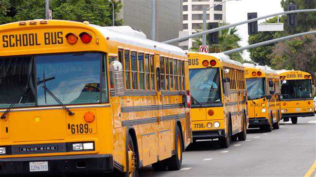 School bus drivers stage noisy protest in Los Angeles