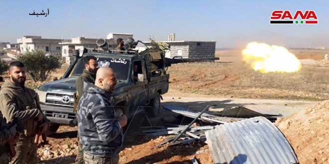 Army responds to al-Nusra terrorists' attack in Idleb countryside